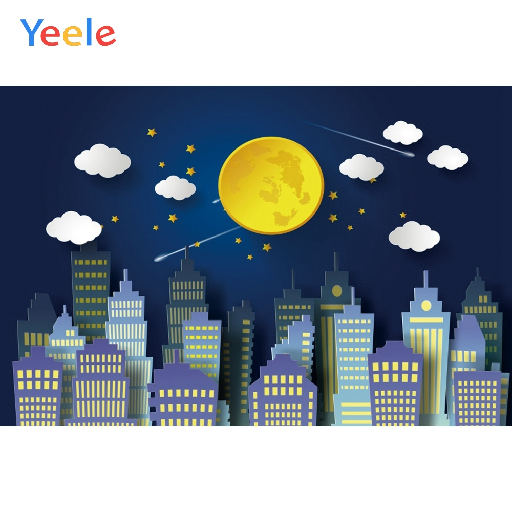 Yeele City Buildings Clouds Moon Stars Baby Birthday Photography Backgrounds Customized Photographic Backdrops for Photo Studio