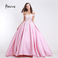Finove Flowers Appliques Prom Dresses New Arrival 2017 Autumn Elegant A Line Floor Length Gowns Sexy