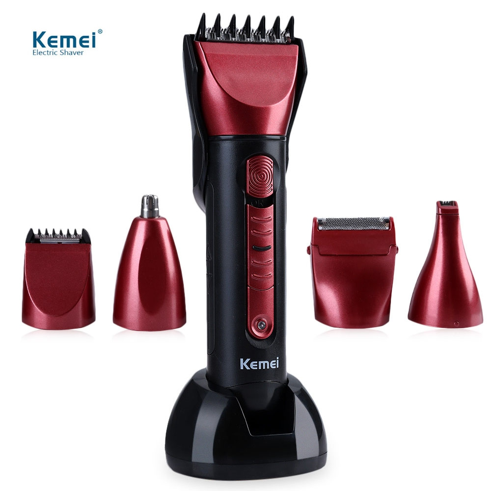 Kemei Professional 5 In 1 Washable Multi-functional Hair Trimmer Cordless Hair Clipper With Scissors Comb Awls For Barber elephant hollow out alloy ring