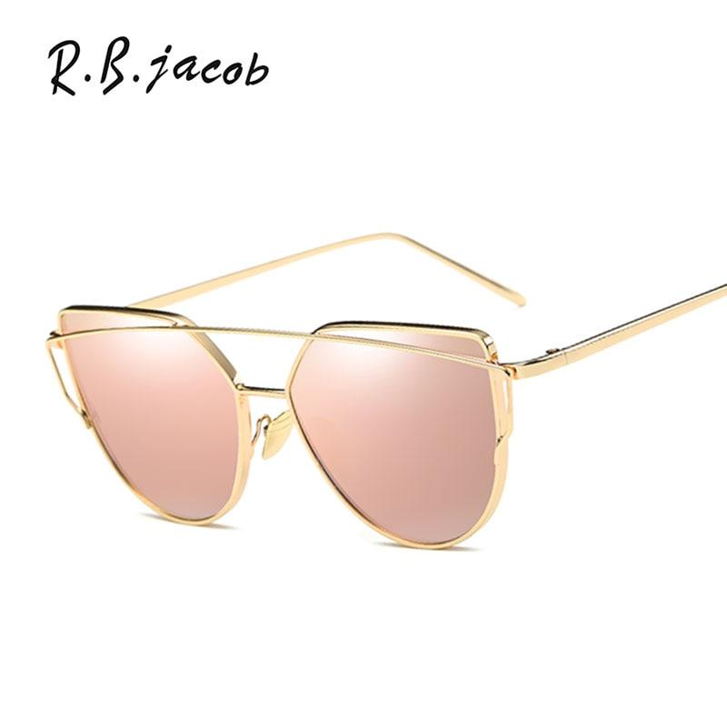 Fashion Flat Lens Cateye Brand Designer Sunglasses Women Cat Eye Sun Glasses Mirror Sunglasses Female Vintage Eyewear Rose Gold