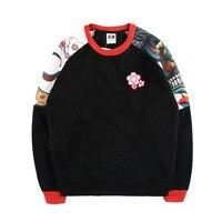 Wholesale Japanese Ukiyoe Thick Men S Hooded Sweatshirt O Neck Pullover Loose Streetwear High Street Hip