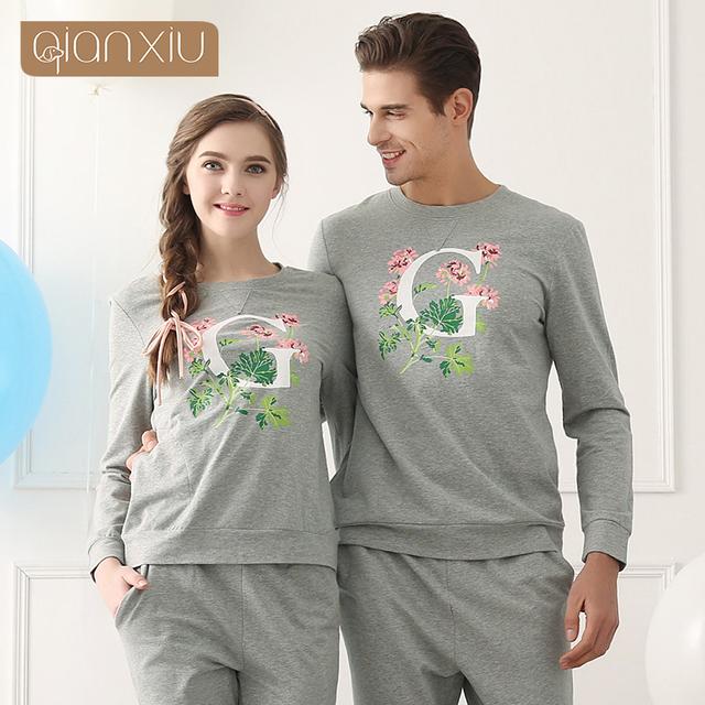 Qianxiu Hombres Activo ropa de Dormir Más tamaño pijama 95% Algodón Marca ropa Pijamas
