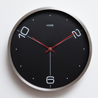 12 brush stainless steel mute quartz wall clock Modern brief mute clock Home decoration