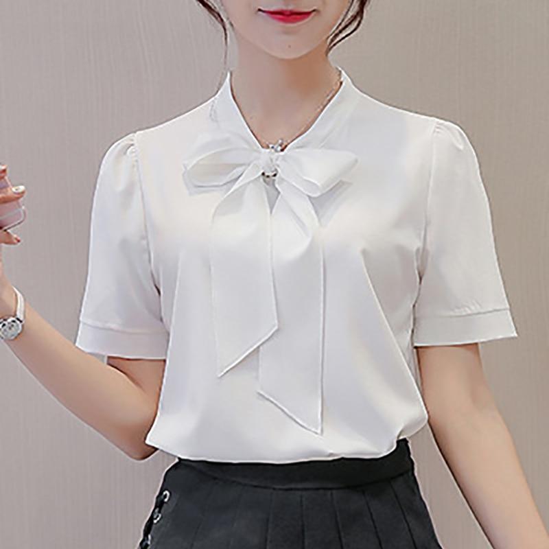 Summer Women Bow Chiffon Blouse Korean Style Short Sleeve Elegant Office Ladies Shirts Work Top Female Clothing Blusas Plus Size