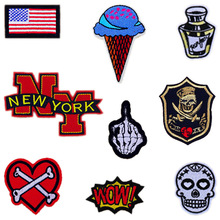 1PCS NEW YORK Letters Punk Fabric Patch Embroidered Iron on Patches For Clothing DIY Decoration Clothes Stickers Applique Badge