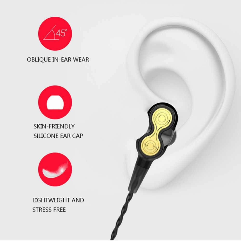 WholesaleWired سماعات 1.2m مع Mic 3.5 مللي متر في الأذن ستيريو الرياضة سماعة الديناميكية المزدوجة السائقين سماعات الأذن للهواتف الذكية/PC /محمول
