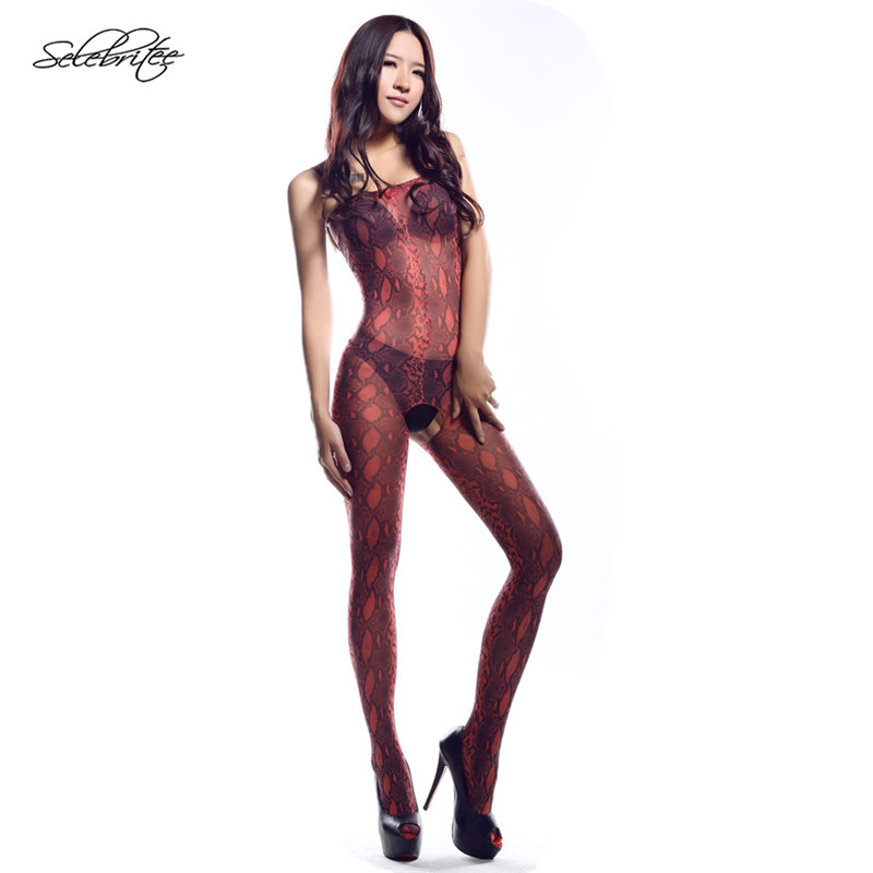 Buy Selebritee Womens Bodystocking Hot Sexy Bodysuits Open Crotch See Leopard Print Lingerie Nightgown Strap Silk Sheer
