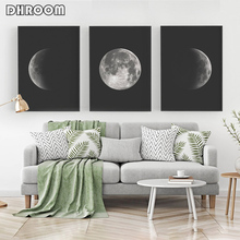 Black and White Moon Canvas Painting Nordic Wall Art Picture Phases Prints Posters Modern Decor