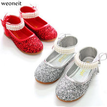 Weoneit Baby Toddler Girl Silver Red Glitter Party Wedding Shoe Flats  Toddler Sequins Princess Girls Performance Dress Shoes 5bba174ca6f2