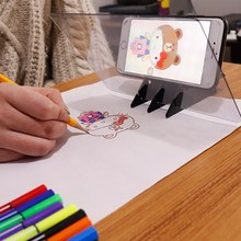 LED Light Stencil Board Light Box Tracing Drawing Board Sketch Mirror Reflection Phone Dimming Stand Holder drawing mirror board