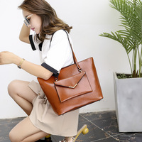 2 in 1 Large Capacity Women Top handle Bags with Purse Leather Bucket Shoulder Bags Solid Female Casual Messenger Bag Tote