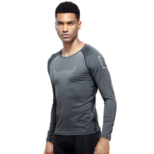 Autumn Running T-Shirts Men Long Sleeve t-shirt Cow Pattern Breatherable Sport Tight Jersey Top Shirt Bodybuilding Sportswear