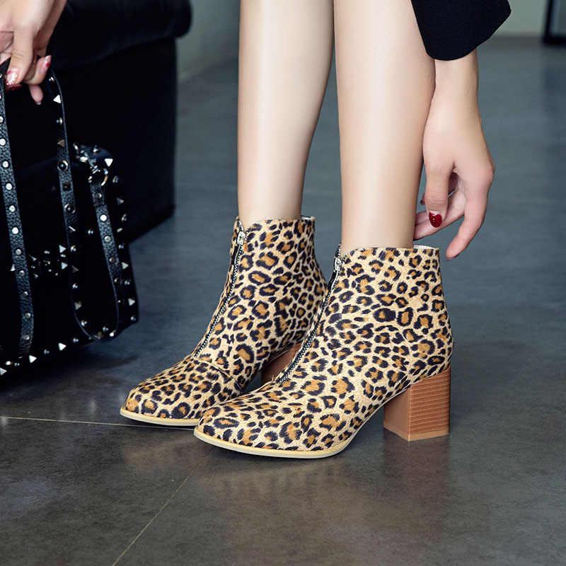 WETKISS Zip yarım çizmeler Kadınlar Yüksek Topuklu Kalın Patik Yuvarlak Ayak Ayakkabı Kadın Akın parti ayakkabıları Bayanlar 2019 Yeni Artı Boyutu 50