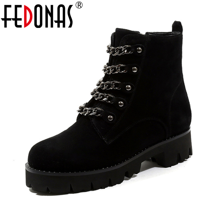 FEDONAS 1Fashion Women Ankle Boots Autumn Winter Warm Cow Suede High Heels Shoes Woman Round Toe Chain Casual Motorcycle Boots цены