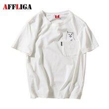 Affliga brand clothing лето 100% хлопок высокого качества розовый мужчины женщины карман футболка cat печатных футболку женщины мужчина случайно сверху