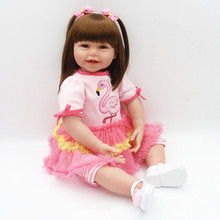 2017 Dollhouse 24 64cm New Big Size Handmade Reborn Babies Silicone Vinyl Adora lifelike boy doll bebe Rebirth Menina