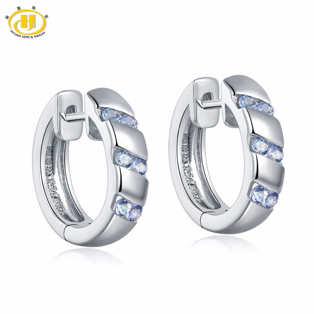Hutang Natural Tanzanite Hoop Earrings Solid 925 Sterling Silver Women's  Fashion Style Fine Jewelry