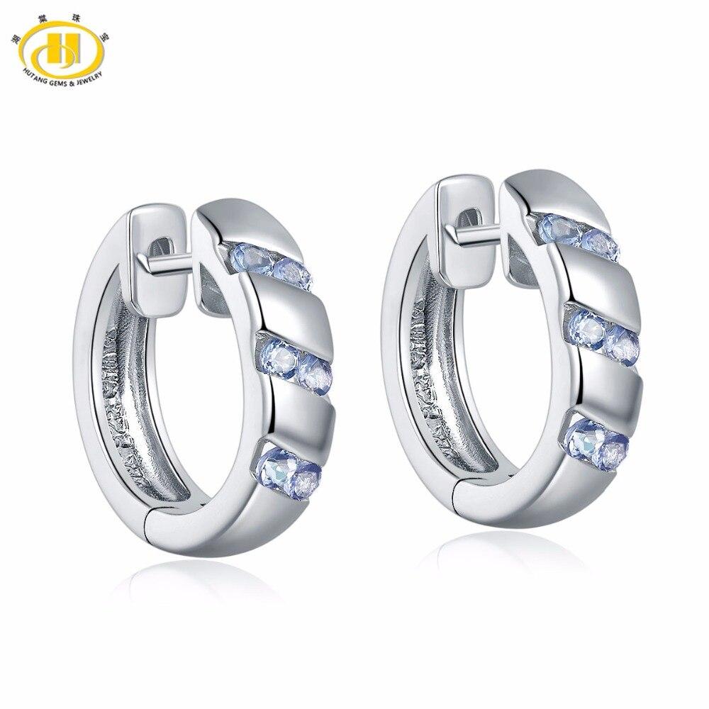 Natural Tanzanite Hoop Earrings Solid 925 Sterling Silver Gemstone Jewelry Women