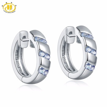 Hutang Women's Hoop Earrings Natural Gemstone Tanzanite Solid 925 Sterling Silver Fine Eelgant Classic Jewelry for Gift New