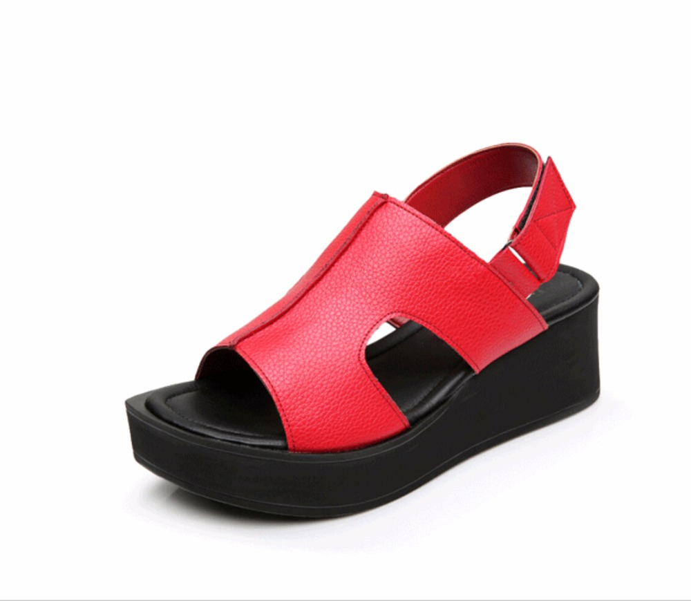 summer fashion brand Genuine leather women sandals sponge thick bottom wedges casual sandals peep-toe platform heels size 34-42 han edition diamond thick bottom female sandals 2017 new summer peep toe fashion sandals prevent slippery outside wear female