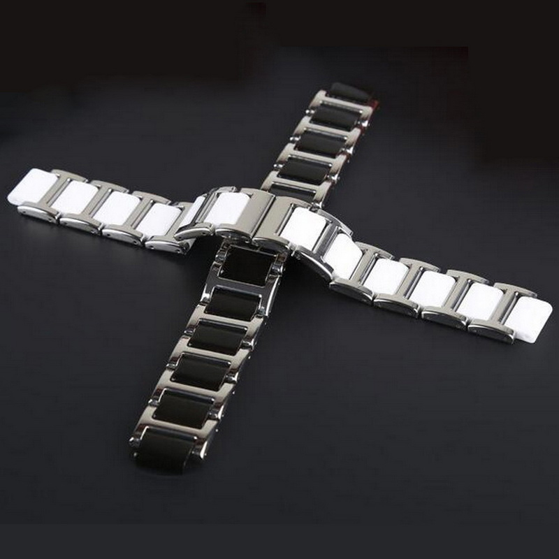 neway 12mm 14mm Convex Ceramic + stainless Steel watchband watch band Wrist Strap bracelet Butterfly clasp Buckle black silver 28mm convex stainless steel watchband replacement watch band butterfly clasp strap wrist belt bracelet black rose gold silver page 6