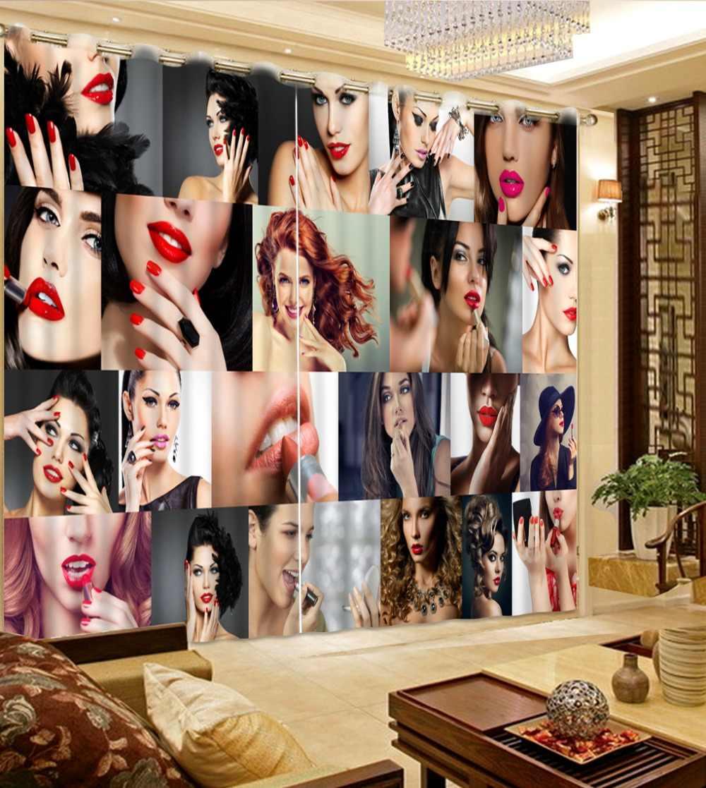 3D Printing Sexy vrouw Gordijnen Blackout 3D Gordijnen woonkamer Slaapkamer Hotel Woondecoratie mode Moderne Gordijn