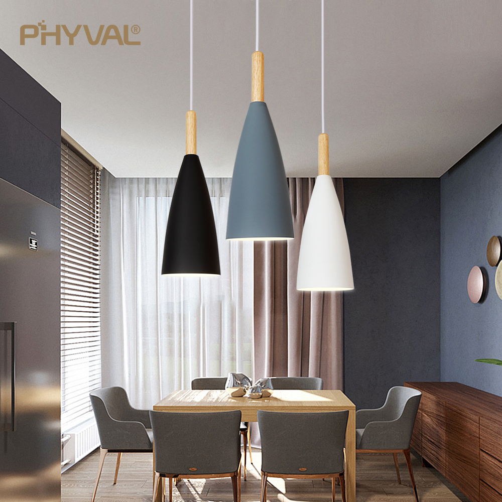 Modern Pendant Lamp Nordic Pendant Light For Dinning Room Restaurant Bedroom LED Hanging Lamp E27 Aluminum LED Night Lighting