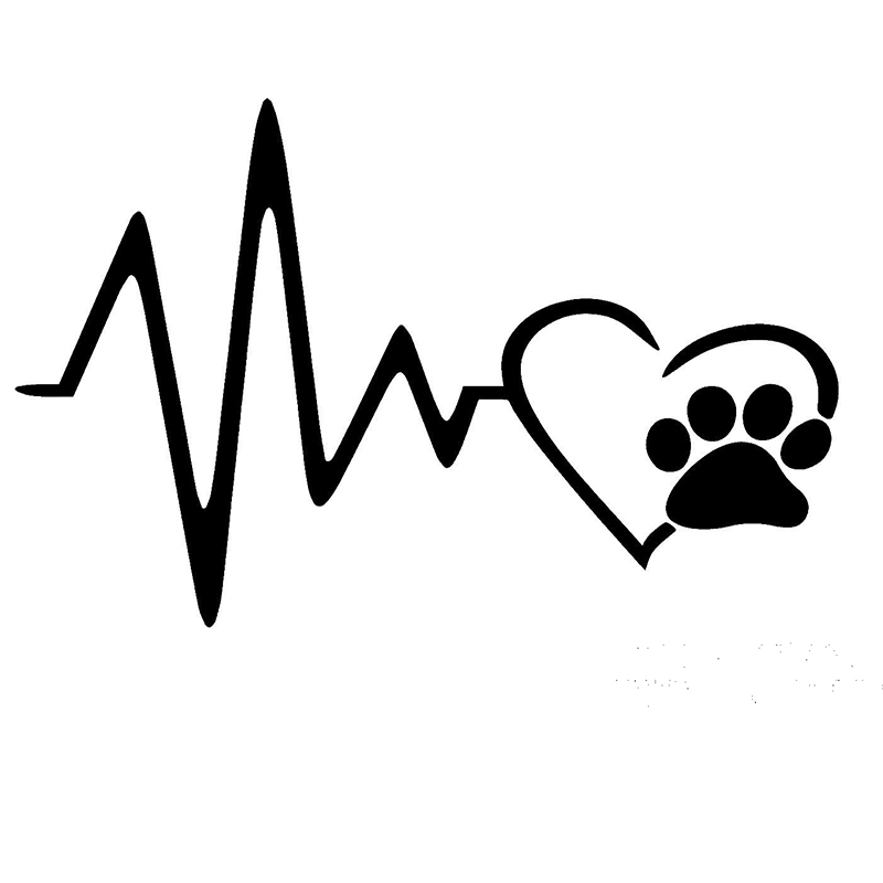 58cm x 29cm 2 x Heart Beat Paw Funny Graphical (one For Each Side) Car Sticker For Truck Window Auto Door Vinyl Decal 9 Colors tempat make up gantung