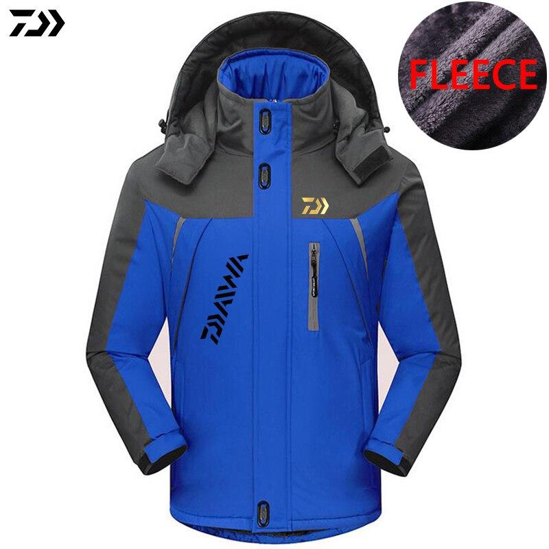 DAIWA DAWA Plus Velvet Outdoor Sports Fishing Clothing Men Autumn Winter Waterproof Keep Warm Patchwork Hooded Jackets