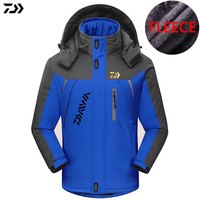 DAIWA DAWA Plus Velvet Outdoor Sports Fishing Clothing Men Autumn Winter Waterproof Keep Warm Patchwork Hooded Jackets