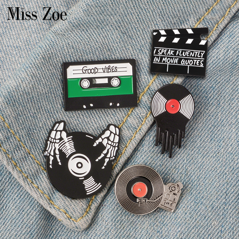Punk Music Lovers Enamel Pin Good vibes tape DJ Vinyl Record Player badge brooch Lapel pin Jeans shirt Cool Gothic Jewelry Gift