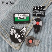 Punk Music Lovers Enamel Pin Good vibes tape DJ Vinyl Record Player badge brooch Lapel pin Jeans shirt Cool Gothic Jewelry Gift(China)