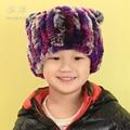 Winter grass Rabbit fur hat children wool cap sleeve head cap baby hats for men and women warm ear cap