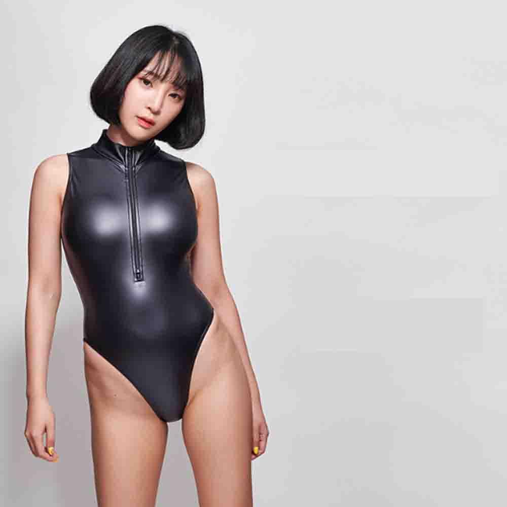LEOHEX Bodysuit DROZENO Sexy One Piece Swimsuit High Cut One Piece Swimwear Sexy Leotards Satin Glossy Bodysuit