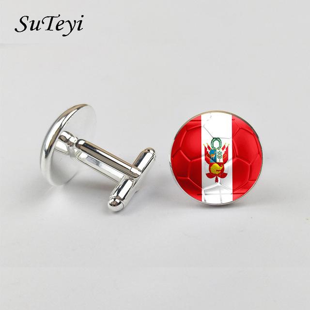 Suteyi Glass Cufflinks National Flag Football Print Design Shirt Suit Wedding Jewelry