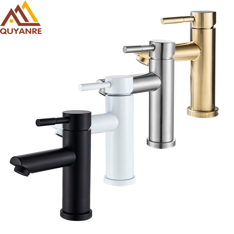 Quyanre Black White Basin Faucets Hot Cold Water Mixer Tap Single Handle Mixer Tap Faucet Brushed Gold Bathroom Water Crane Tap