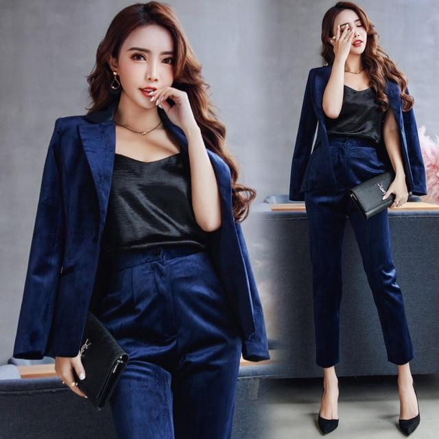 ef797a326d8 Gold velvet Two Piece Formal Pant Suit Full Sleeve Office Lady Uniform  Design Women Business Suits