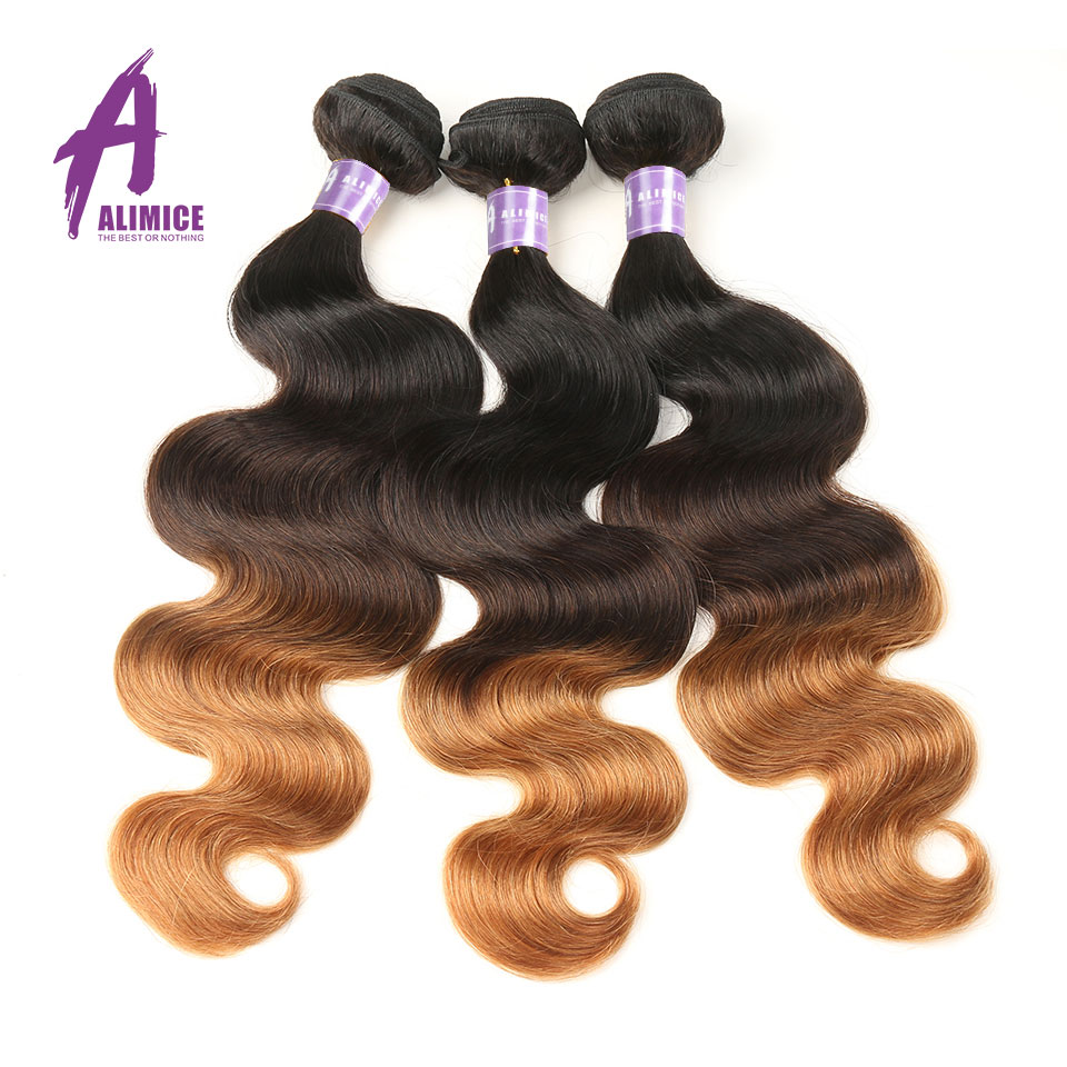 ALIMICE Ombre Brazilian Hair Body Wave Hair 3 Bundles T1B/4/30 Ombre Human Hair Weaves Bundles 3 Tone Non Remy Hair Extensions