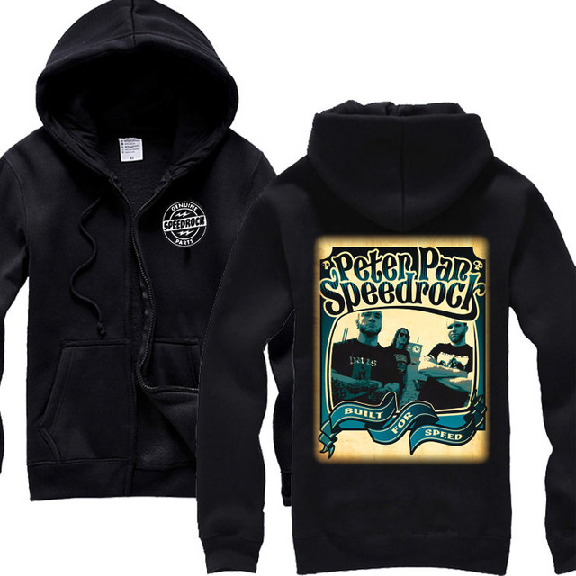 2 Ontwerpen Peter Pan Zachte Warme Katoen Rits Hoodies merk kleding shell jas punk metal Rock sudadera fleece Schedel Sweatshirt-in Hoodies en sweaters van Mannenkleding op  Groep 2