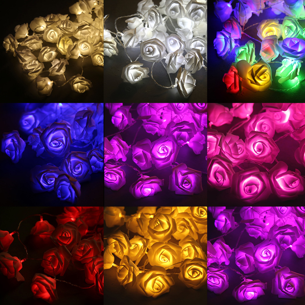 Pink christmas lights in bedroom - 2017 New High Quality 50 Led Pink Rose Flower Battery Operated Fairy Light Wedding Bedroom Decor
