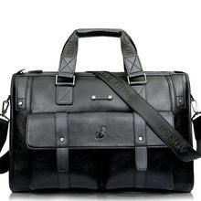 Мужской Плотный кожаный портфель, Вместительная деловая сумка-мессенджер на плечо для ноутбука, Высококачественная дорожная офисная сумка