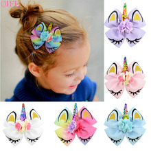 QIFU New Hair Clip Decor Unicorn Party Decorations Birthday Supplies Favors Bows Colorful