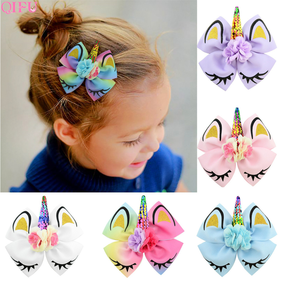 QIFU New Hair Clip Decor <font><b>Unicorn</b></font> Party <font><b>Decorations</b></font> <font><b>Unicorn</b></font> Birthday Party Supplies <font><b>Unicorn</b></font> Party Favors Bows Colorful Hair Clip image