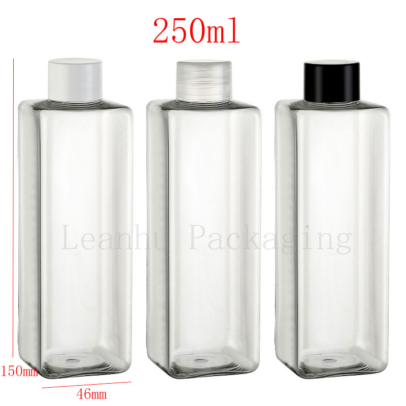 Wholesale 250ml Transparent Square Empty Plastic Cosmetic Bottles Containers With Caps, 250cc Massage Oil Packaging  PET Bottles