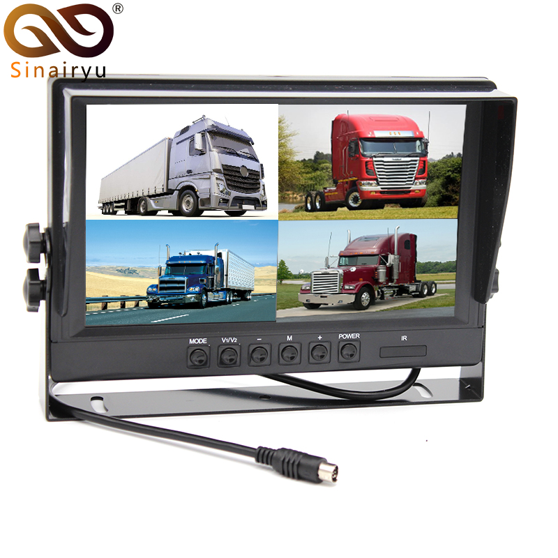 "HD 800*480 9"" TFT LCD Quad Split Monitor for Auto Truck CCTV Surveillance 4 Channels RCA Video Inputs Headrest Mounting Bracket"