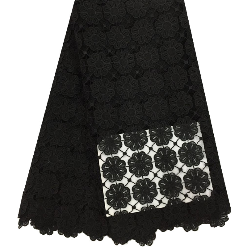 Best Quality African Lace Fabric Black Swiss Voile Lace High Quality Emboridery Cotton French Mesh Lace