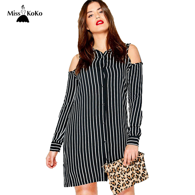 b935785fe8fe Misskoko Women Plus Size Button Down Cold Shoulder Shirt Dress Long Sleeve  Lapel Striped Mini Dress Loose Big Size Casual Dress