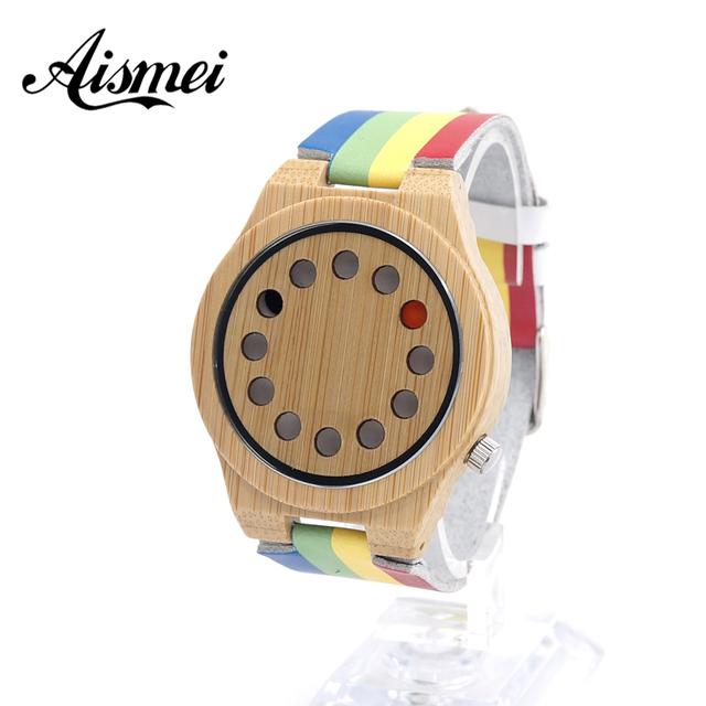 2017 homens da Moda Relógio De Bambu 12 Buracos design display Colorido Com Pulseira de Couro Genuíno Das Mulheres Dos Homens Relógios De Madeira como presente