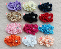 "36PCS/LOT 4"" Satin Ribbon Ruffled Flowers With Rhinestone For DIY craft girl Baby Flower Headbands Baby Photography Props"