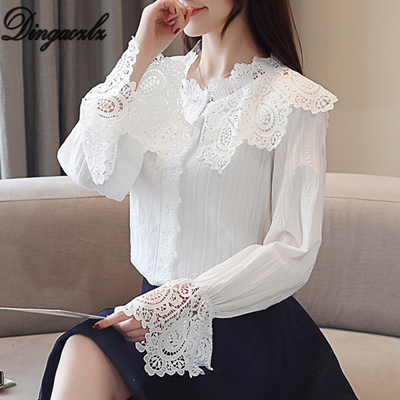 7114b6e72 Dingaozlz Elegant Flare Sleeve White Chiffon Shirt Spring Fashion Women  Clothing Casual Crochet Lace blouse Hollow out Tops